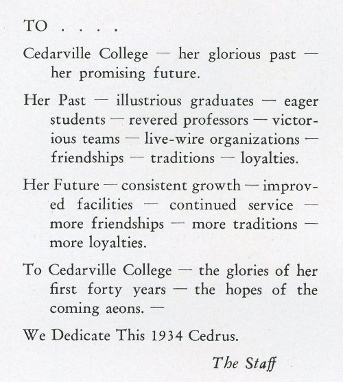 1934 Cedrus, college yearbook at Cedarville College