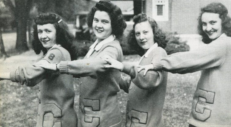1948 students in letterman sweaters at Cedarville College
