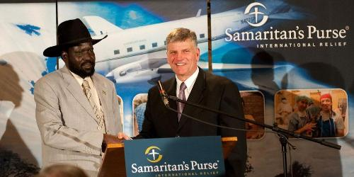 """We came to thank President Bush for standing with us and to thank Franklin Graham for all he has done for us. When our churches were being bombed you did not abandon us,"" said Salva Kiir Mayardit, president of South Sudan (Jan. 7, 2009). Photo courtesy of Samaritan's Purse"