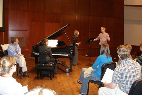 Composer Lowell Liebermann works with Cedarville students performing his piccolo concerto