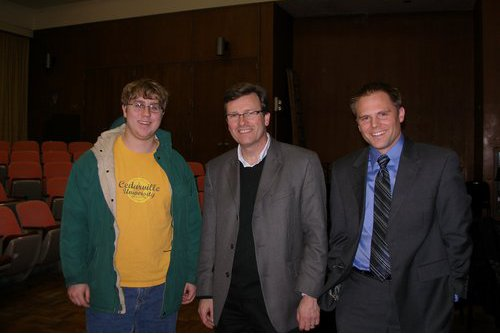 Composer Stephen Paulus poses with Dr. Jaquith and Cedarville student David Szymanski