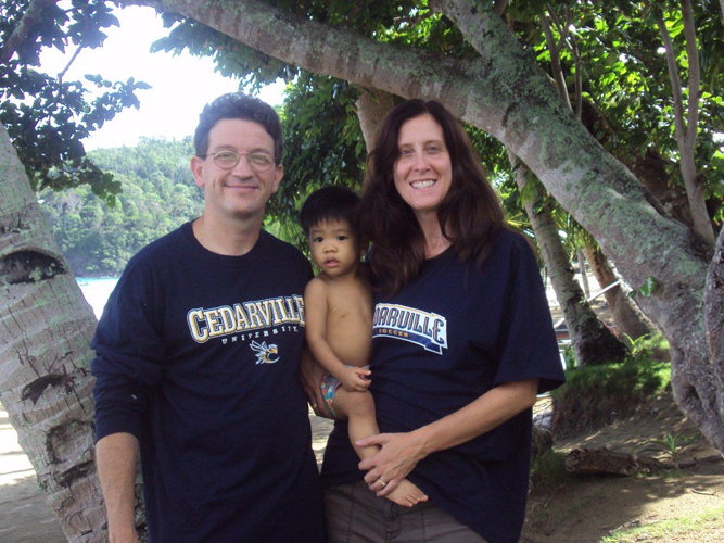 Susan (Nicholson) '92 and Morgan Houser with newly adopted son, Todd in Puerto Princesa City, Philippines