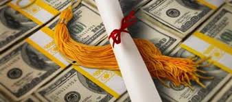 Photo of bound stacks of money with college degree and tassel on top