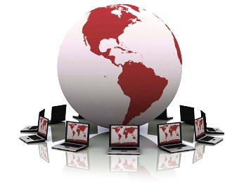 Image of world globe with laptops